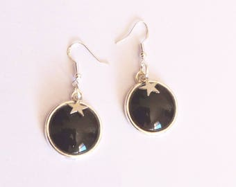 Earrings ' Silver earrings 925 Sterling black cabochon and small stars
