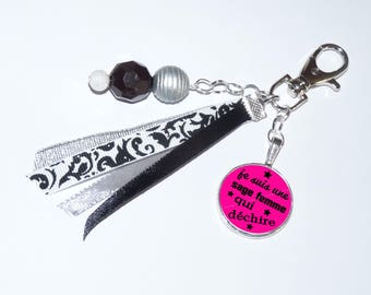 Bag/key ribbons, beads black/silver jewelry I'm a midwife who tear