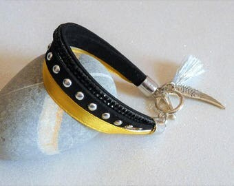 Leather Bracelet yellow saffron, black, silver suede Stud, wing and tassel charm