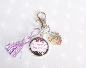 Jewelry bag/door Clesuper Grandma/MOM/aunt/godmother/sister purple tassel and heart