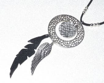 Leaf necklace long silver circle, black leather, croco gray leather and wing