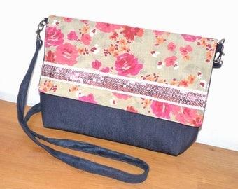 liberty cotton clutch/shoulder bag pink/beige Strip glitter sequins and denim