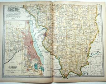 Original 1897 Map of Southern Illinois