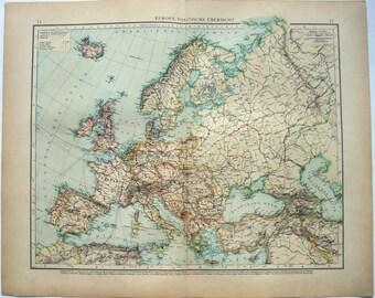 Europe: Original 1896 Map by Velhagen & Klasing. Antique