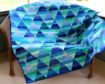 "Beautiful Handmade Patchwork Blue-Green Batik Throw Quilt, ""Pyramids"", Triangle Pattern Lap Quilt, Sofa Throw, Bed Quilt,  55"" x 60"""
