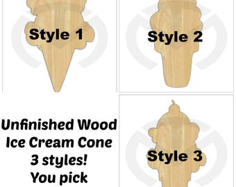 Unfinished Wood Ice Cream Cone Laser Cutout, Wreath Accent, Door Hanger, Ready to Paint & Personalize, 3 Styles  and Various Sizes