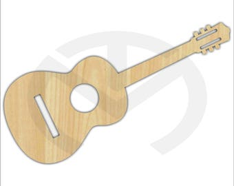 Unfinished Wood Laser Cut Acoustic Guitar, Ready to Paint, Music Room Decor, Various Sizes