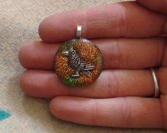 Harvest Raven Svadhisthana Intuition Soul-Antenna Chakra-Harmonizing Ormus Orgone Crystal Energy Unisex Pendant Necklace 25mm Orange Green