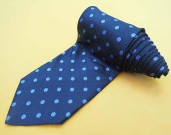 Paul Smith Tie Pure Silk Polka Dots Pattern Navy Blue Vintage Designer Dress Necktie Made In Italy