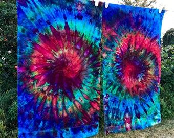 Ice Dye Pillowcase Set - Rainbow Tie Dye Pillowcase Set - Standard Size Pillowcase Set of Two (2) - Tie Dye Bedding - Ice Dye Pillowcases