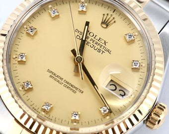 Mens Rolex Datejust 18k Steel Champagne Diamond Dial 16013 Watch
