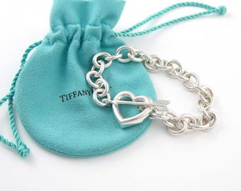 Tiffany and Co Sterling Silver Heart and Arrow Toggle Bracelet with Tiffany Pouch and Box