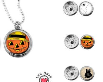 Halloween necklace, pumpkin charm, ghost charm, owl charm, halloween gift set, gingersnaps inspired, snap in charms, halloween jewelry