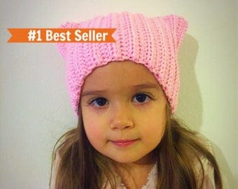 Pink pussycat hat, pussycat hat, pink cat hat, cat hat with ears, clothing gift, pink winter hat, best selling items