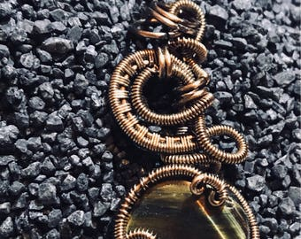 Wire wrapped pendant tiger eye