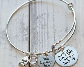 The Ones We Love Never Truly Leave Us Memorial Wire Adjustable Bangle Bracelet
