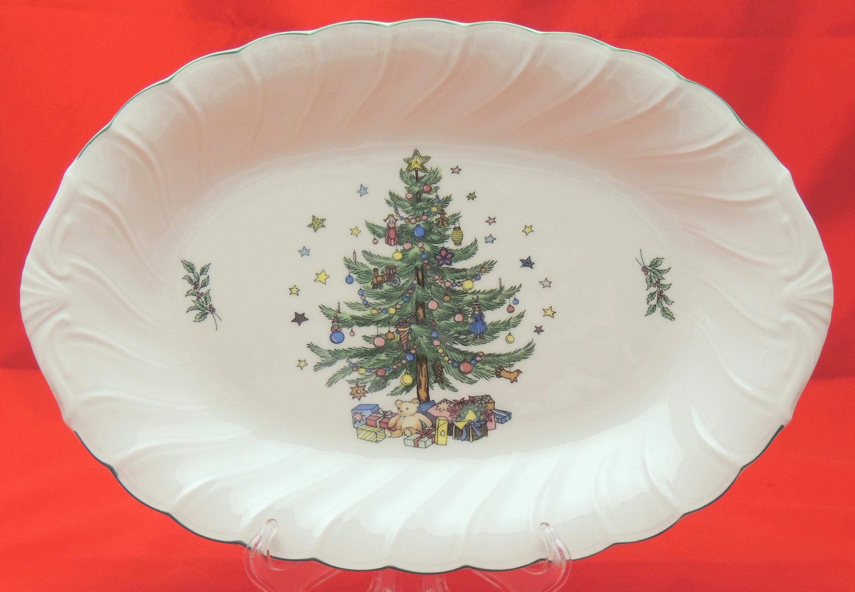 NIKKO Happy Holidays Serving Platter Swirl 14 x