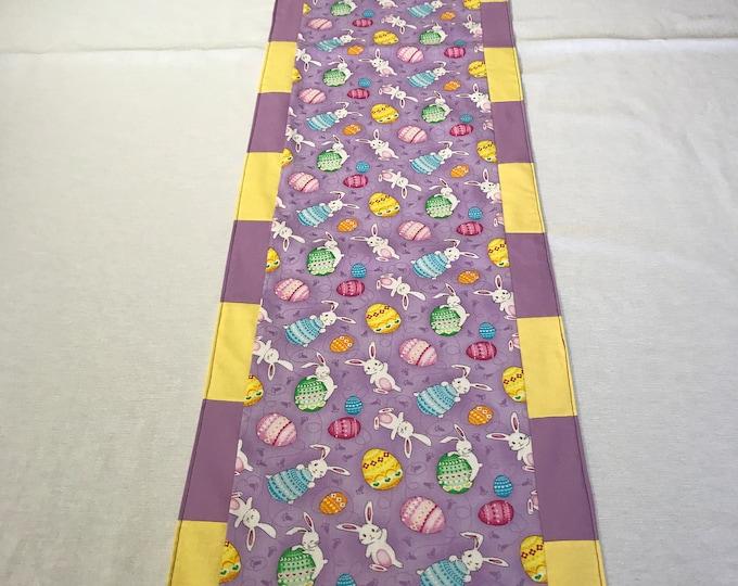 Easter Egg Table Runner, Easter Bunny Table Runner, Easter Table Runner, Easter Bunnies and Eggs, Lavender Table Runner, Patchwork Runner