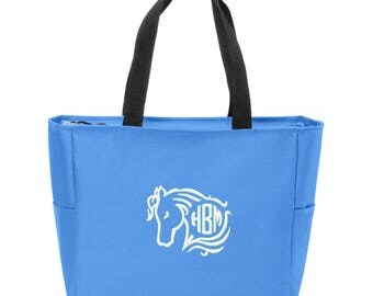 Horse Head Embroidered Monogrammed Zip Tote
