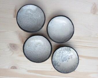 Made to order - Set of four raku bowls - White raku dishes - set of four raku dishes - raku ceramic bowls