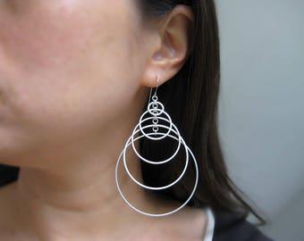 Art Deco Statement Earrings - silver multi hoop earrings, minimalist geometric jewelry - Tiered 5
