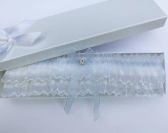 White something blue wedding garter, white lace garter, white garter, white bridal garter, frilly garter