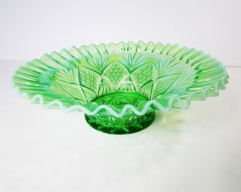 Antique Dugan Opalescent Green and White Glass Bowl ca. 1905-1903 Pattern-Reflecting Diamonds
