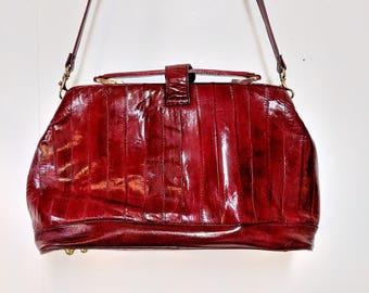 Dark Red Genuine Eel Skin Purse Vintage 80's/Leather Shoulder Bag/Crossbody Purse/Large Red Eel Skin Bag