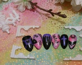 Pastel Goth Dreams 3D Nail Set | Fake Nails | False Nails | Glue on Nails | Press on Nails