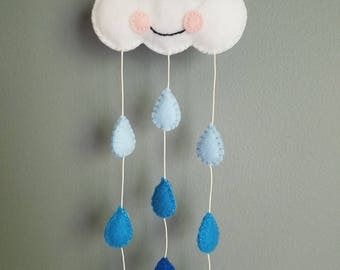 Baby Shower Gift/ Felt Cloud and Raindrops Nursery Decor/ Mini Mobile