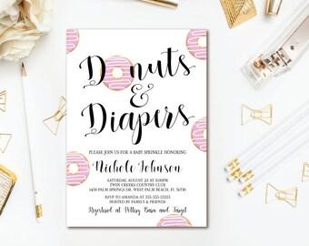 Donuts U0026 Diapers Invitation   Donut Girl Baby Shower   Diaper Invitation    Printable Invites