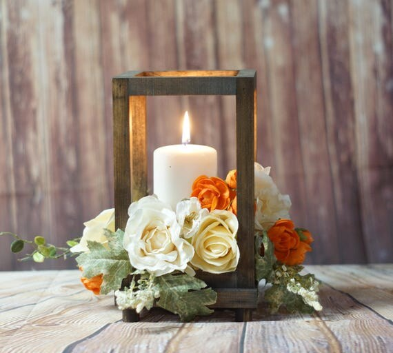 Rustic wood candle lantern wedding