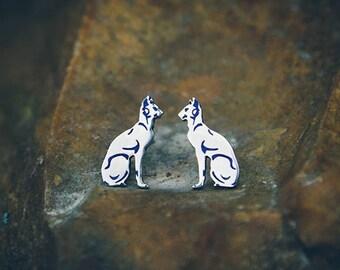 """Silver handmade earrings """"Bastet"""""""