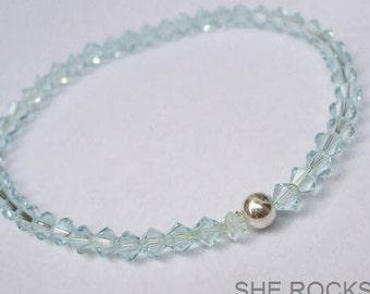 Blue Swarovski crystal stretch bracelet Sterling Silver tiny crystal bead bracelet stacking Aquamarine March Birthstone jewellery gift