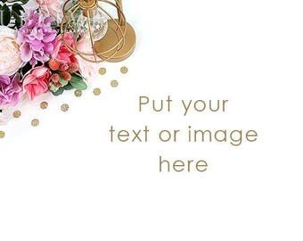 Styled Stock Photography / Desktop Styled / Styled Desk / Digital Background / Flowers / Notebook / Photo Background / StockStyle-921