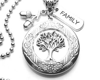 Family Tree of Life Keepsake Locket Antique Silver Necklace, Handmade Jewelry, Family History, Genealogy, LDS, Mormon