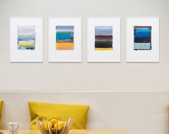 """Set of 4 Abstract Giclee Prints, Yellow, Light Blue, Magenta, Cyan, Red, Orange, Modern wall art, Abstract Print Collection, 5x7""""Print"""
