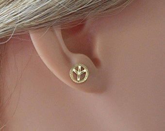 Mother's day gift peace sign earring 14k,Peace symbol stud earring,Free love earrings,Hippie peace earring 14k gold,peace studs.