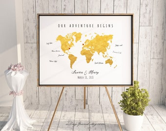 Gold world map etsy gumiabroncs Image collections