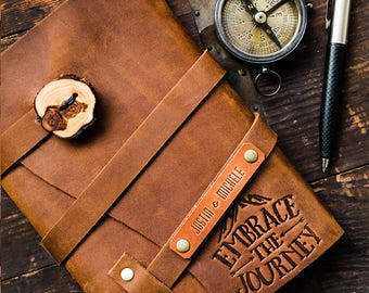 50% OFF --  Personalized Leather Journal -- Embrace the Journey -  Firebrand Custom Leather Refillable Handmade Portland... Sale Today!