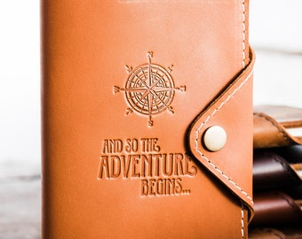 Huge SALE 50% OFF... Refillable Leather Snap Journal... Customize Notebook Compass Adventure Begins Moleskine Cover...Small only 24 dollars!