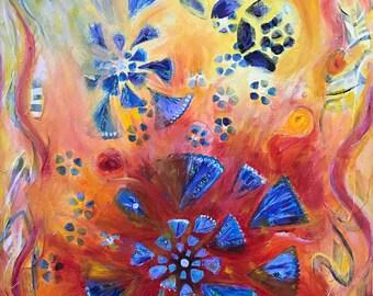 "Mixed Media Acrylic Painting ""Dancing Flowers"" Original Work"