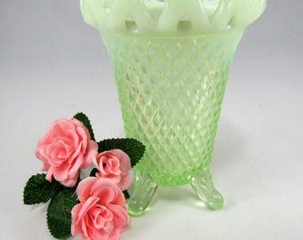 "Vintage IMPERIAL Vaseline Glass GENIE  Lace Loop Rim. This pretty footed Vase is 5"" Tall and has (4) Legs and was made in the 1930""s."