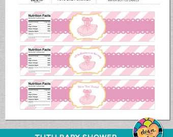 Tutu Baby Shower Water Bottle Labels/Wraps- DIY Water Bottle Labels *INSTANT DOWNLOAD*