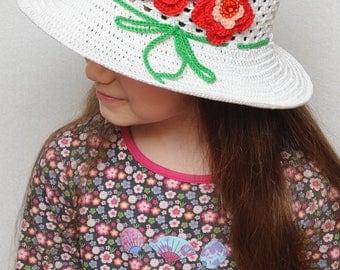 Crochet girls hats Photo Prop hat Floral Crochet summer hat Girls sun hat with red flowers Girls summer hat wide-brimmed hat girls beach hat