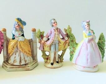 Miniature German Porcelain Figures, Numbered, Set of Five
