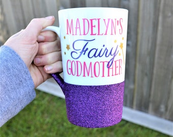 Fairy Godmother Mug with Glitter // Gift for Godmother // Godmother Gift // Godmother Coffee Mug // Godmother Cup  // Personalized Godmother