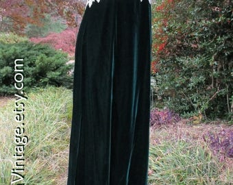 Vintage Princess Dress, GREEN VELVET maxi, IVORY brocade w/ lace, long velvet evening gown formal, holiday party, Empire waist, Boho Gothic