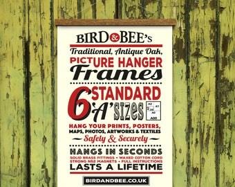 oak poster hanger standard sizes a4 a0 wooden picture hanger print frame fine - Etsy Frames