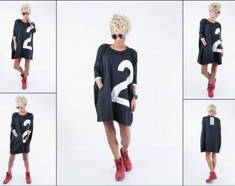 NEW Long Sleeve Loose Dress/ Daywear Maxi Short Dress/ Plus Size Black Dress/ Extravagant Black Dress with Long Sleeves made by LOCKERROOM
